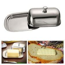 1X Stainless Steel Butter Dish W/ Lid Metal Container Keeper Holder Covered Tray