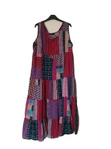 Ladies Patchwork Patterned Maxi Dress 18/20 XXL