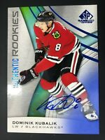 2019-20 UD SP Game Used Blue Authentic Rookies Dominik Kubalik Auto