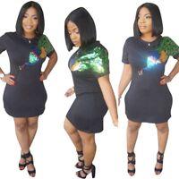 women short sleeves animal sequins casual club party mini shirt dress