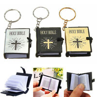 Mini Bible Keyrings English HOLY BIBLE Religious Christian Jesus Cross Keychains