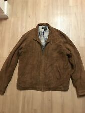 Golden Bear Buttery Soft Suede Bomber Jacket With Plaid Patchwork Lining Mens XL