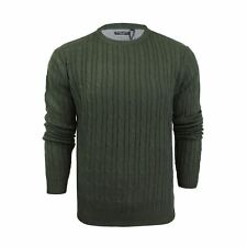 Mens Jumper Brave Soul Mao Cable Knit Crew Neck Sweater Khaki Medium
