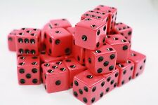"WHOLESALE LOT OF 50 RED DICE BLACK PIPS 6 SIDED D6 DIE GAME SIX 5/8"" 16mm"