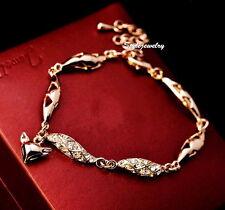 Rose Gold Filled Made with Swarovski Crystal Women Fashion Fox Bracelet T11