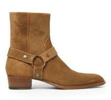 Cuban Mens Suede Ankle Boots Heel Gladiator Cowboy Chukka High Top Shoes Size L