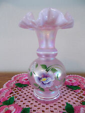 FENTON HAND PAINTED FLOWERS ON PINK OPALESCENT IRIDESCENT VASE