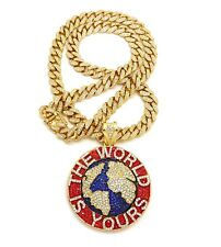 """WORLD IS YOURS PENDANT WITH 30"""" ICE BLING CUBAN CHAIN"""