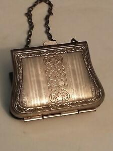 Antique silver ladies dance compact card case and purse inside Very Detailed