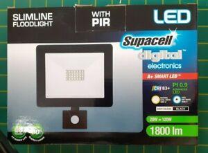 Slimline Floodlight with PIR - Outdoor 20W = 120w - Supercell Digital