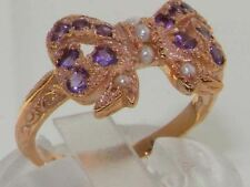 Luxury 9ct Rose Gold Ladies Pearl & Amethyst Vintage Style Bow Ring