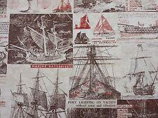 MARSON Morgan Taupe Sailing Boats Ships Vintage Fabric Curtains Upholstery
