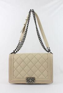 Chanel Authentic Beige Calfskin Leather Medium Boyfriend Shoulder Bag Handbag