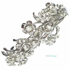 Bridal Wedding Vintage Vine & Flower Silver Crystal Barrette Hair Clip Grip CL09
