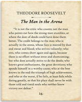 Theodore Roosevelt - The Man In The Arena - 11x14 Unframed Typography Book Page