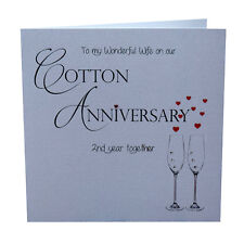 2nd Cotton Wedding Anniversary Card Wife Luxury Handmade 148mm x 148mm sq