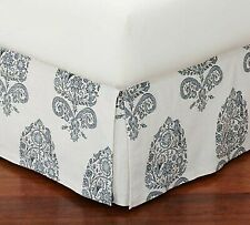 "New ListingLovely Pair Of Pottery Barn Bhotah Twin Bed Skirts 14"" Drop Box Pleat Blue Cream"