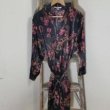 Delicates Black Purple Floral Robe Sleepwear Women's Size 1X  A40