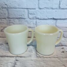 New listing Lot of 2 Vintage Fire King Ivory Coffee Mugs D Handle Flat BottomsOven Ware M36