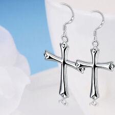 Women's Fashion Jewelry 925 Silver Plated Dangle Hook Cross Earrings 20-9