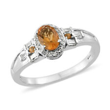 Salamanca Fire Opal, White Topaz Platinum Over Sterling Silver Ring Size 9