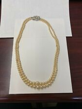 Vintage Double Strand Faux Pearl Bead Choker Necklace