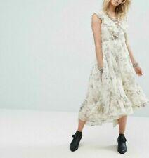Denim & Supply Ralph Lauren Floral Printed Lace Up Ruffle Midi Dress X Small XS