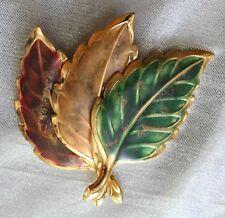 "Elegant Enamel Gold-tone Autumn Leaves Brooch 1970s Vintage 3"""