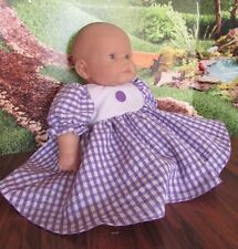 """baby doll clothes 2 piece dress/pant 14-16"""" berenguer/american bitty baby purple"""