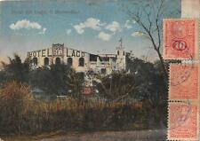HOTEL DEL LAGO S. BERNARDINO MAP PARAGUAY TO USA STAMPS POSTCARD 1922