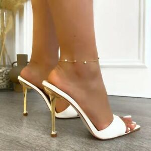 Women Summer Mules High Heels Slides Slip On Sandals Open Toe Stiletto Shoe Size