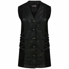 NEW WOMENS CLASSICAL VTG REAL LEATHER BIKER STYLE LADIES LONG WAISTCOAT/VEST