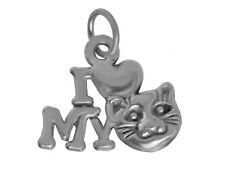 WOW Sterling Silver I love my Kitten Pussy cat Jewlery friendship bond Heart Cha