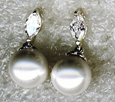 Cubic Zirconia Pearl Sterling Silver Fine Earrings