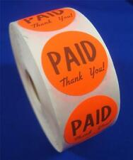 1000 Self Adhesive Paid Thank You Labels 1 38 Stickers Retail Store Supplies