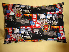 MARINES PRINT with USA FLAG PILLOW-