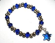 'AAA' GRADE BLUE CRYSTAL GLASS BEADED STRETCH STARFISH CLIP CHARM BRACELET