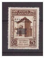SAN MARINO - 1943  GOVERNO PROVVISORIO  NUOVA SOPRASTAMPA CENT. 5  **