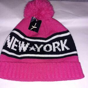 PRIMARK NEW YORK  BEANIE HAT PINK WARM WORK WINTER KNITTED WOOLY-BNWT