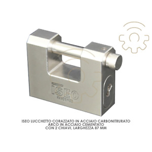 Iseo armored padlock 87 mm wide in carbonitrided steel arc in steel ce