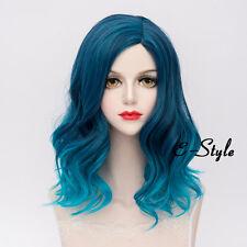Fashion 45CM Blue Gradient Medium Curly Harajuku Women Cosplay Party Lolita Wig