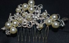 Silver Wedding Bridal Headpiece Ivory Pearls & Brilliant Crystals Hair Comb
