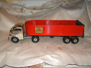vintage structo toy dump truck w/ trailer 1940s 1950s antique pressed steel old