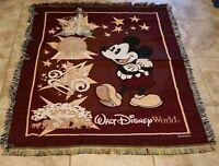 "Disney World Mickey's Mouse Tapestry Throw Blanket 56"" x 46"" Epcot Fantasia"