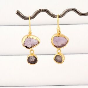 Raw Natural Purple Amethyst Gold Plated Handmade Collet Set Drop Earring Jewelry