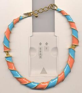 KENNETH LANE  TURQUOISE CORAL ENAMEL  NECKLACE
