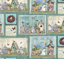 Patchwork Quilting Sewing Fabric DREAM GARDEN BLESS THIS HOME Panel 30x110cm