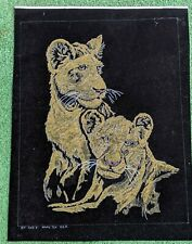 Antique 1920S Hand Painted Tiger Velvet Fabric Panel