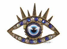 Quirky Kitsch Large Eye Eyeball Tribal Crystal Blue Jewellery Adjustable Ring