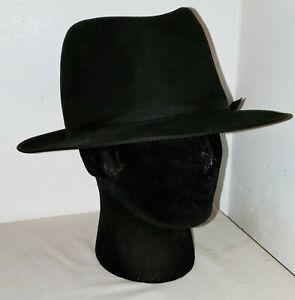 """Vintage Stevens """"The President"""" Black Fur Felt Beaver Fedora Size 7 3/8 hat"""